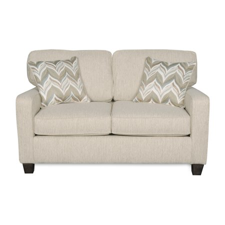 Living Room Loveseat Sofa W Two Accent Pillows