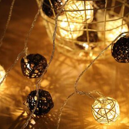 Beautiful LED Ball String Lights Creative Night Lamp Festival Wedding Party Yard Decoration Gift Hanging Pendant (Light Up Hanging Balls)