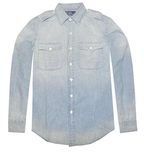 Ralph Lauren Men Long Sleeve Chambray Military Shirt (S, ...