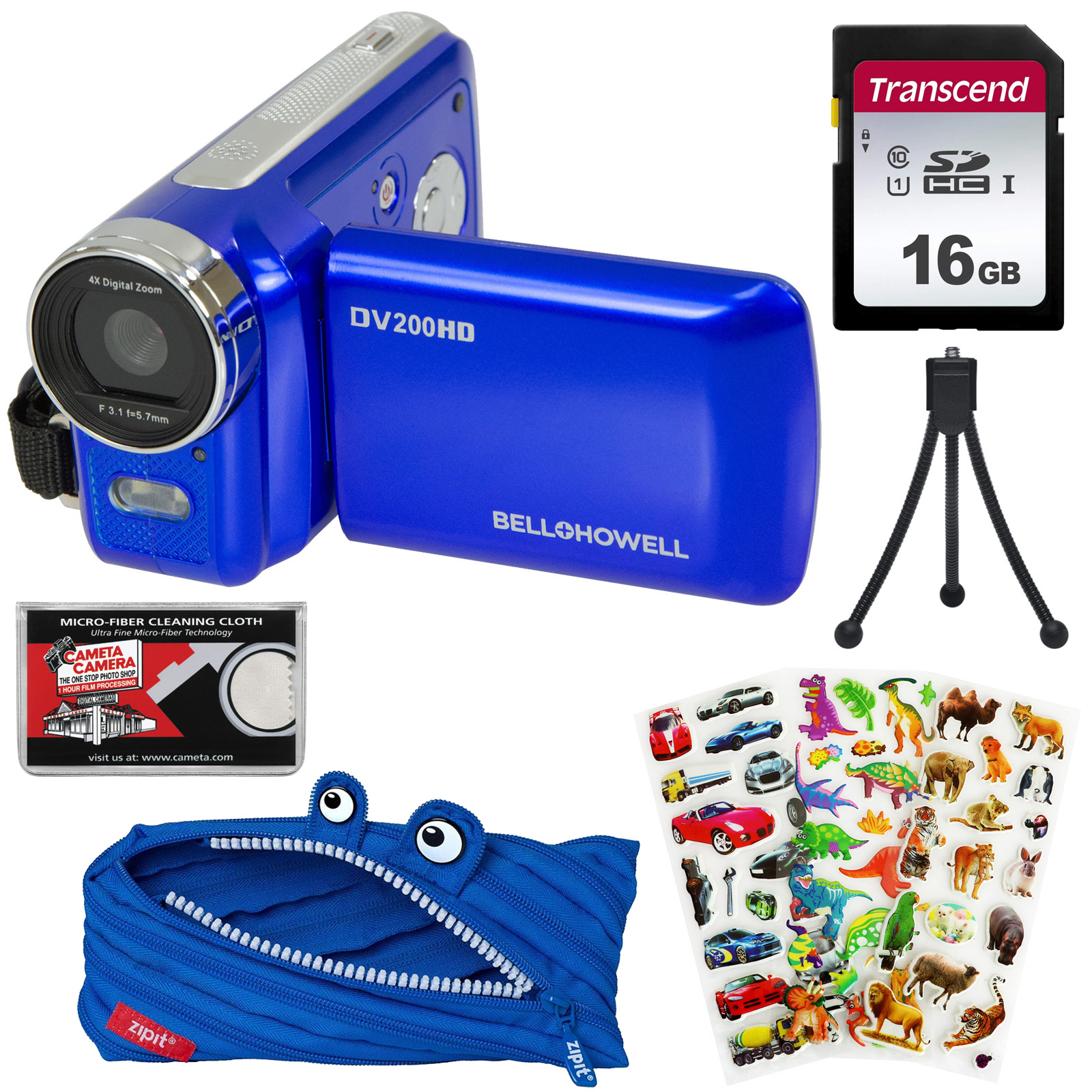Bell + Howell DV200HD HD Video Camera Camcorder with Built-in Video Light with 16GB Card + Monstar Case + Stickers + Tripod Kit