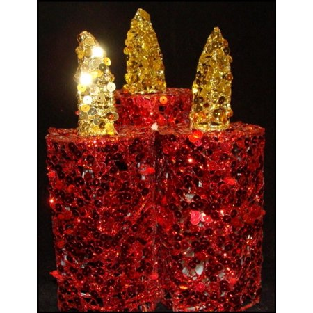 "Walmart Seller Central >> 9"" Red and Gold Sequined Flameless LED Lighted Christmas Pillar Candle Trio - Walmart.com"