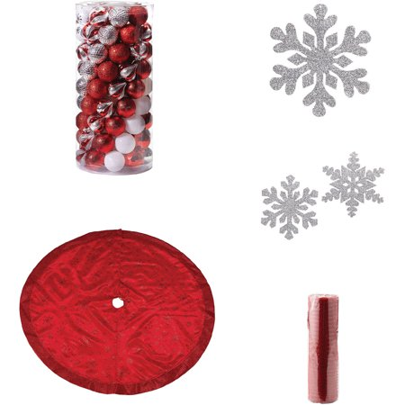 red and silver christmas tree decoration kit - Red And Silver Christmas Tree