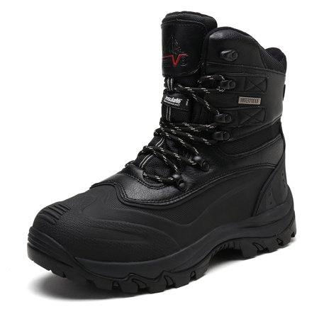 NORTIV 8 Men's Insulated Waterproof Construction Rubber Sole Winter Snow Skii Boots 160443-M BLACK Size 10.5