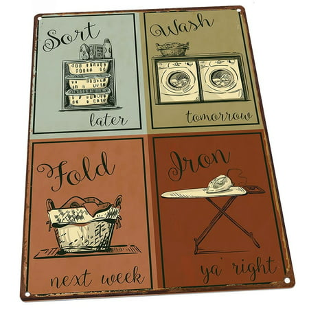 """Laundry 9""""x12"""" Metal Sign, Wall Decor for Office or Meeting Room"""