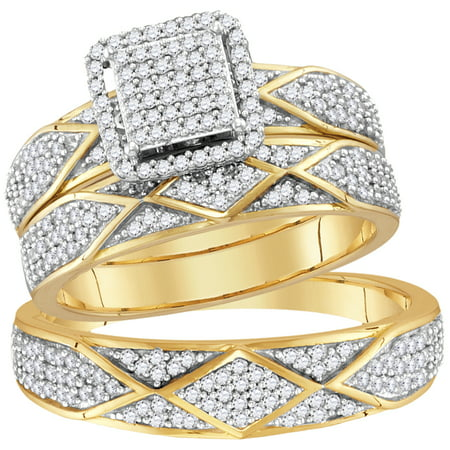 Wedding Set Yellow Gold Setting (10kt Yellow Gold His & Hers Round Diamond Cluster Matching Bridal Wedding Ring Band Set 3/4)