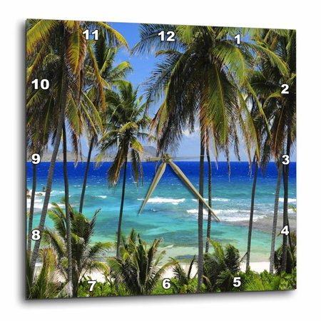 Blue Mosaic Clock - 3dRose Tropical Day Scene with Swaying Palm Trees and Glimpses of Blue Ocean, Wall Clock, 13 by 13-inch