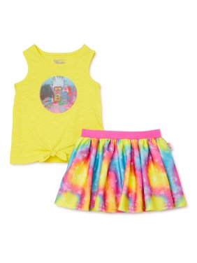 Trolls Tie Front Tank and Tutu Skirt, 2-Piece Outfit Set, Sizes 4-8