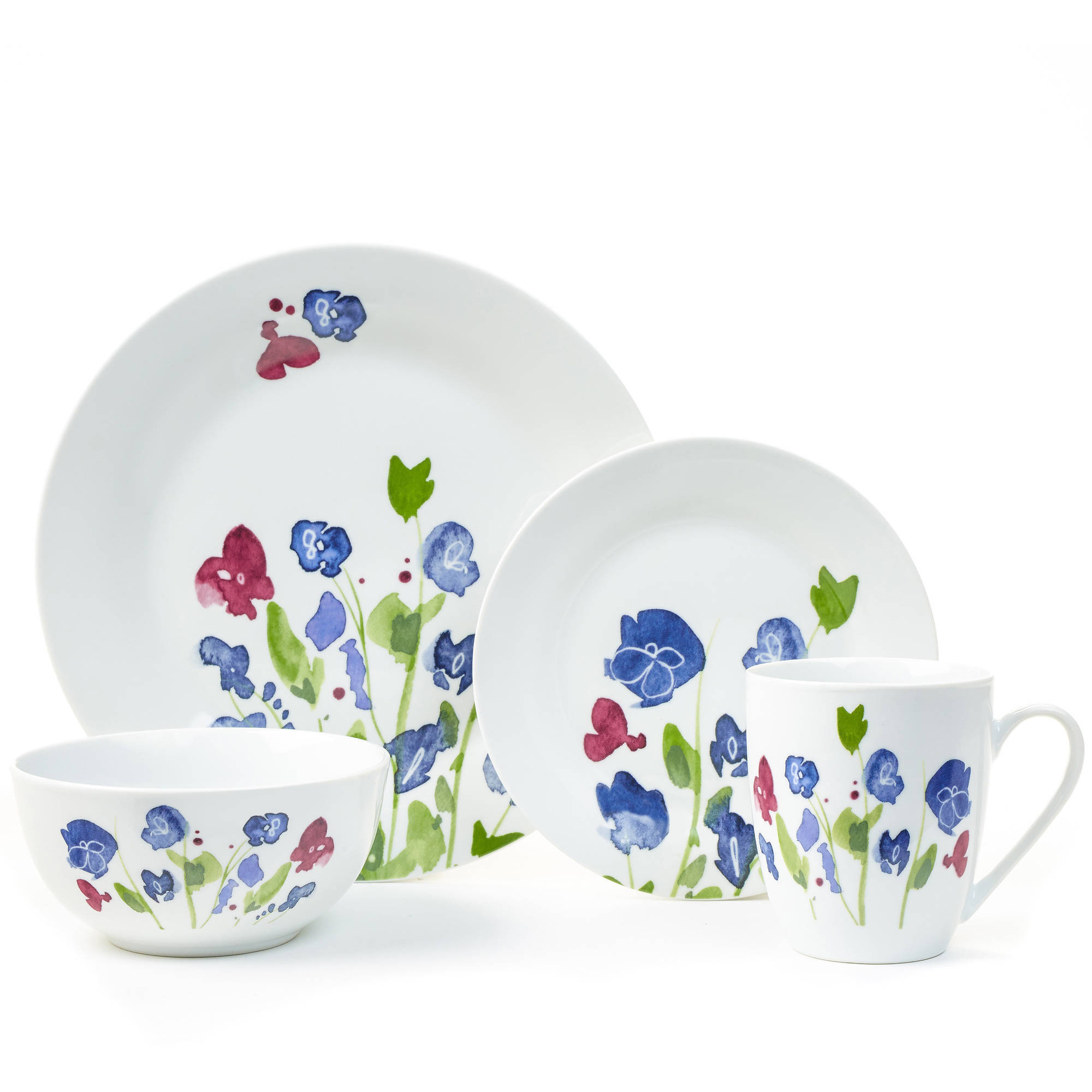 Placemate My Romantic 16-Piece Porcelain Dinnerware Set, Blue