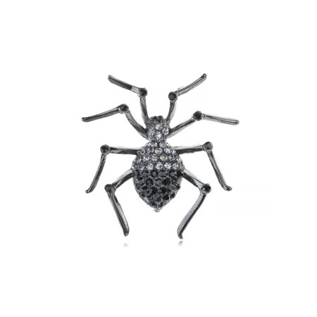 Crystal Halloween Pins (Creepy Halloween Czech Crystal Rhinestone Black Widow Spider Pin)