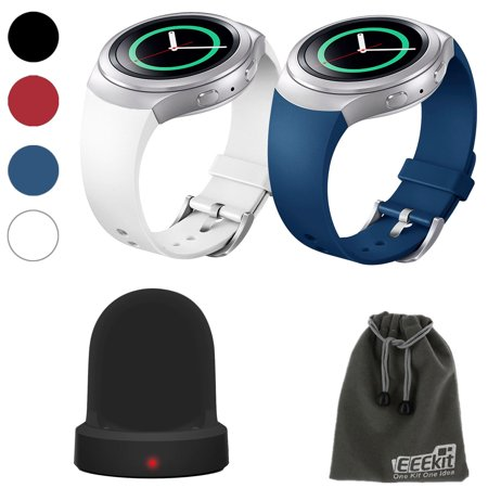 EEEKit 2in1 Kit for Samsung Gear S2 SM-R720 Version, 2 Pcs Silicone Smart Watch Band Strap+Wireless Charger Dock