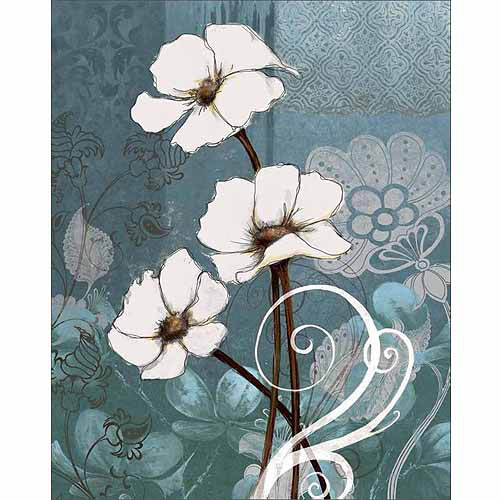 Flower Drawing with Distressed Textured Sketches Painting Blue Canvas Art by Pied Piper Creative