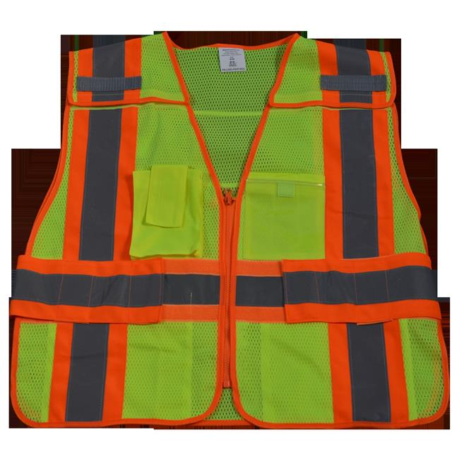 Public Safety Vest 207-2006 Lime Mesh with Orange Binding 5-Point Breakaway 5 Pockets Clear Pvc Pocket On Back, Plus 2X & 5X