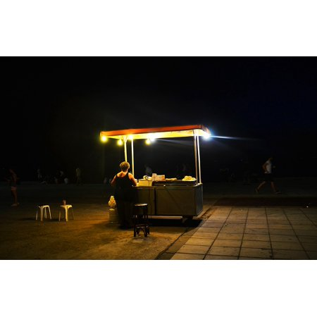 LAMINATED POSTER Street Vending Shop Assistant Night Sales Stand Poster Print 24 x (Vending Stand)