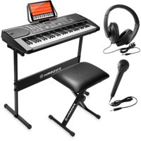 Hamzer 61-Key Portable Electronic Keyboard Piano with Stand, Stool, Headphoness, Microphones & Sticker Sheet
