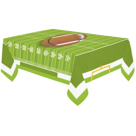 MYPOP Grass Sport Football Field Cotton Linen Tablecloth 60x120 Inches, Football Sitting at Midfield of Grass Desk Sofa Table Cloth Cover for Christmas Party Decor Home Decorations