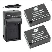 DSTE® 2x DMW-BLC12 Battery + DC114 Travel and Car Charger Adapter for Panasonic Lumix DMC-G5 G6 G7 GH2 FZ200 Leica Q Camera as DMW-BLC12E BP-DC12E