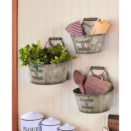 Set 3 Rustic Storage Bucket Holder Country Living Wall Table Organizer - Rustic Country Decor