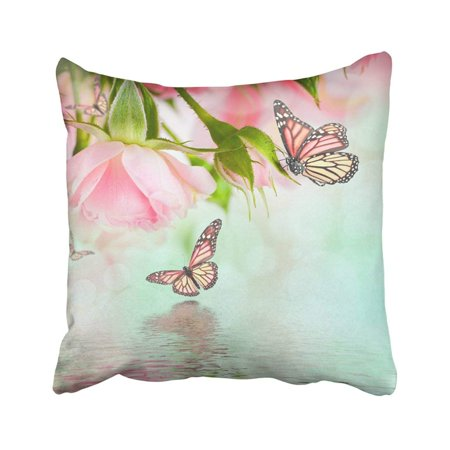 BPBOP Pink Bouquet Beautiful Roses And Butterfly Flower Floral Red Beauty Elegance Leaf Love Pillowcase Throw Pillow Cover 18x18 inches ()