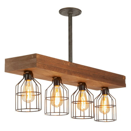 Farmhouse Lighting Triple Wood Beam Vintage Decor Chandelier Light - Great in Kitchen, Bar, Industrial, Island, Billiard, Foyer and Edison Bulb. Wooden Reclaimed Rustic Four Light With Cages (Vintage Antique Finish Chandeliers)