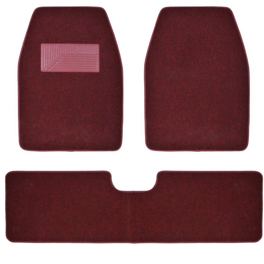 BDK Carpeted Floor Mats 3-Piece Full Set for Car SUV, Van and Truck