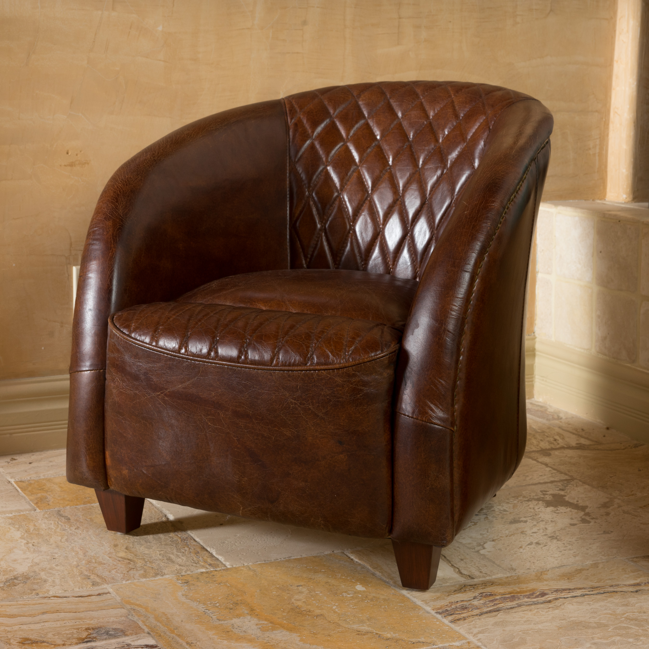Noble House Nina Brown Tufted Leather Club Chair