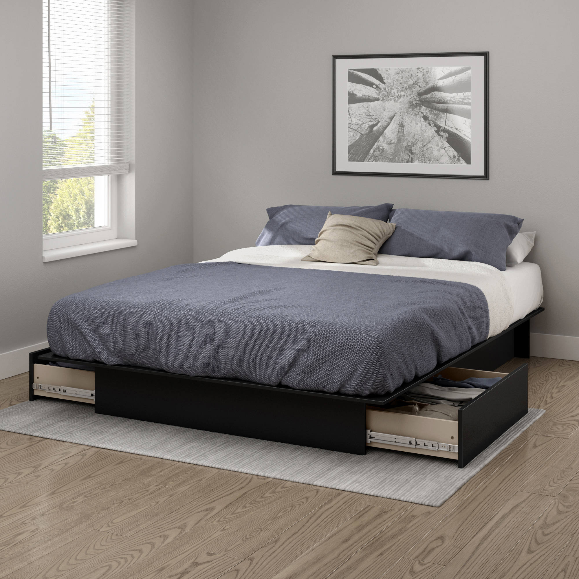 "South Shore Gramercy Full/Queen Platform Bed (54""/60"") with Drawers, Multiple Finishes"