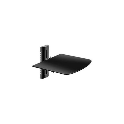 Barkan Mounts 81G Elegant Audio And Video Glass Shelf Black, Supported By Metal Mounts With Height Adjustment, Pack of 5
