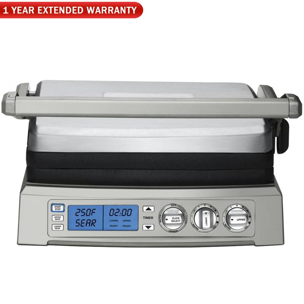 Cuisinart GR-300WS Griddler Elite Grill, Stainless Steel w/ 1 Year Extended Warranty