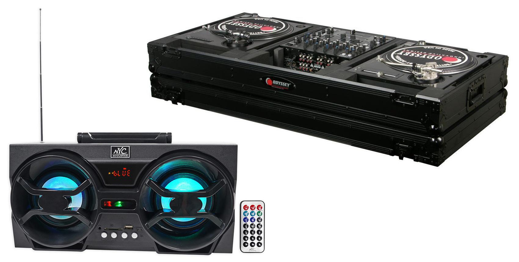 Odyssey Black Label FZBM12WBL Turntable Battle Coffin w Wheels + Free Speaker ! by Odyssey
