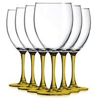 Black Nuance Bottom Accent 10 oz Wine Glasses - Set of 6 by TableTop King - Additional Vibrant Colors Available