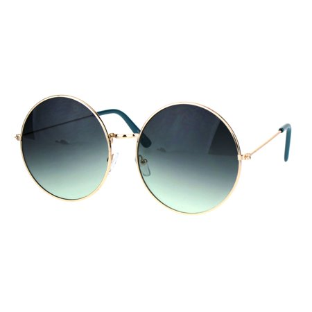 Classic Oversize Joplin Style Hippie Round Circle Lens Sunglasses Gold Blue (How To Style Round Sunglasses)