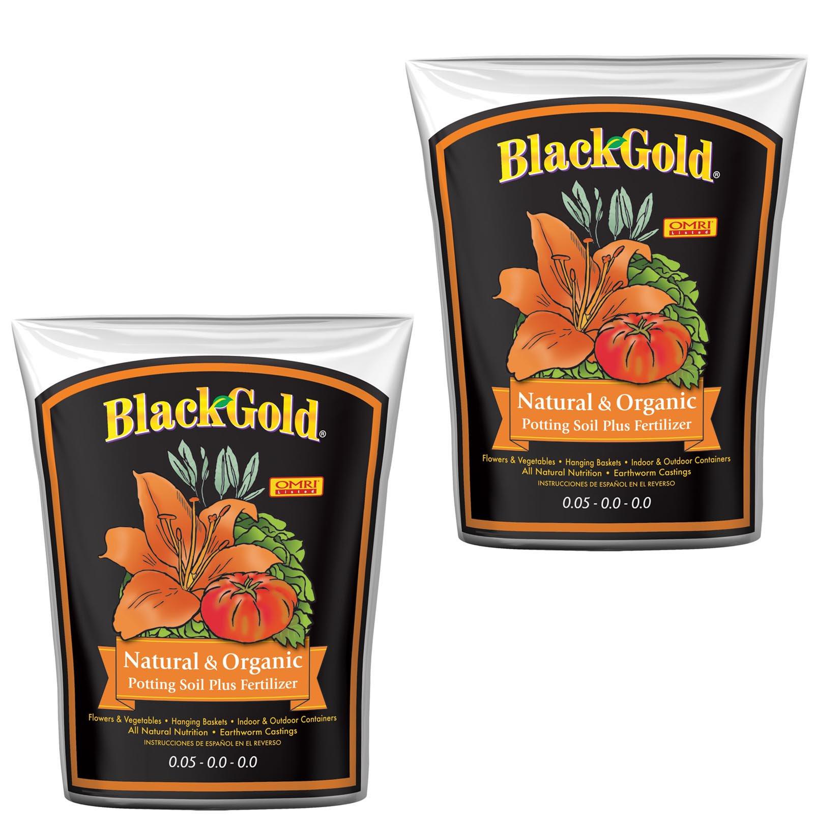 (2) SunGro Black Gold Natural & Organic Potting Soil/Fertilizer Bags | 4 cu ft.
