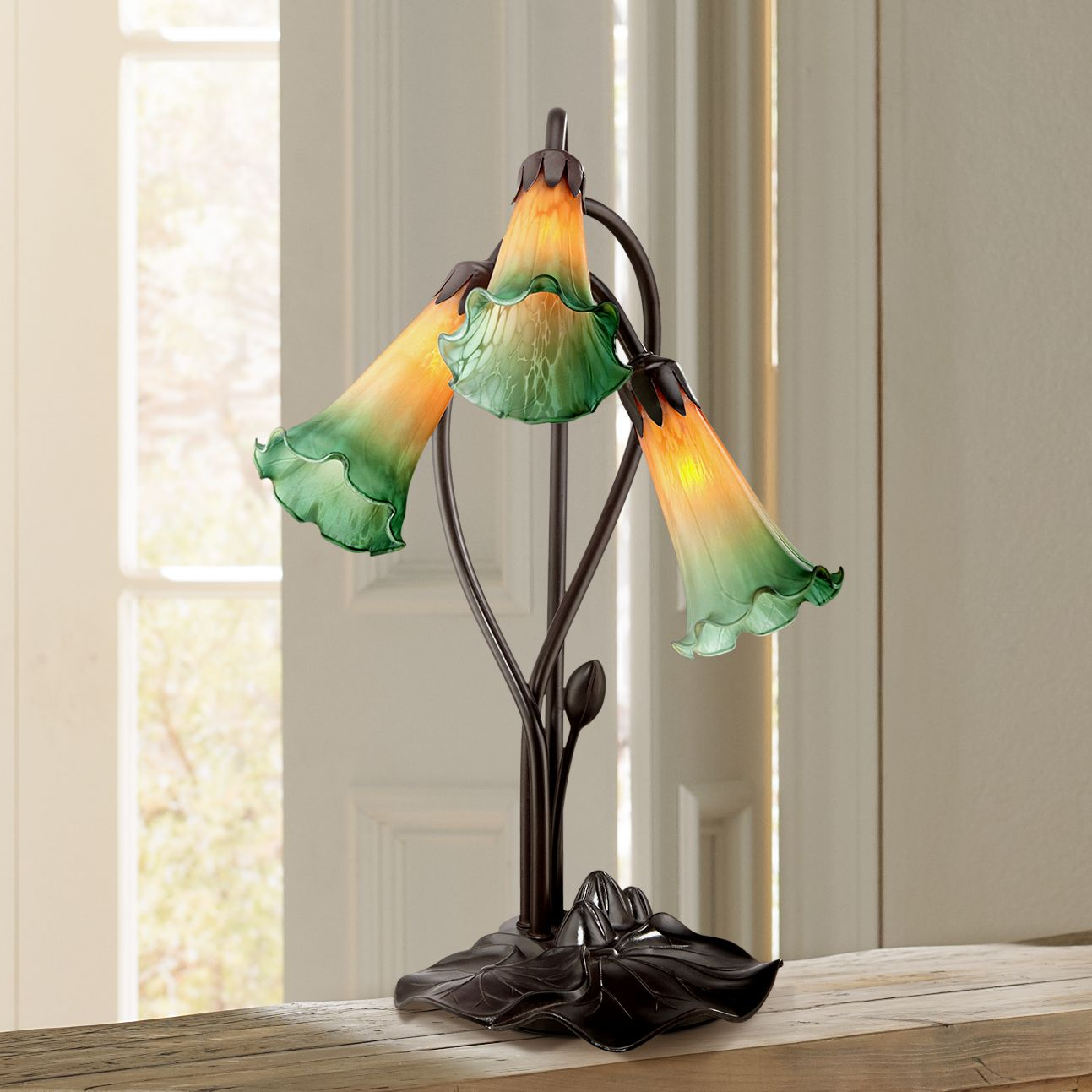"Regency Hill Amber Lily Flower 17"" High Accent Table Lamp With Led Bulbs"