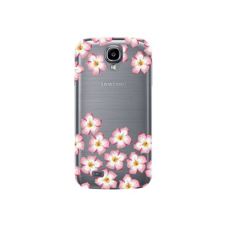 Plumeria Flower Cell Phone Charm - Pink and Yellow Plumeria Flower Cute Floral Pattern Clear Phone Case - For Samsung Galaxy S4 Back Cover