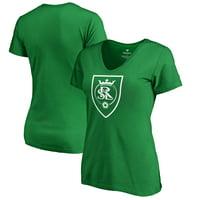 Real Salt Lake Fanatics Branded Women's St. Patrick's Day White Logo Plus Size V-Neck T-Shirt - Kelly Green