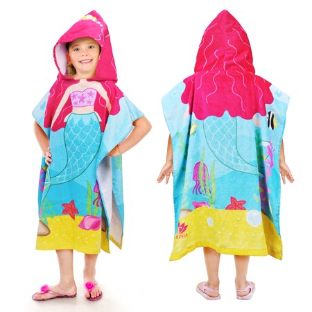 Tirrinia Little Mermaid Hooded Poncho Kids Beach Bath Swim Towel 100% Cotton for 1-6 Years Girls, 24 by 52-inches - Swim Poncho Towel