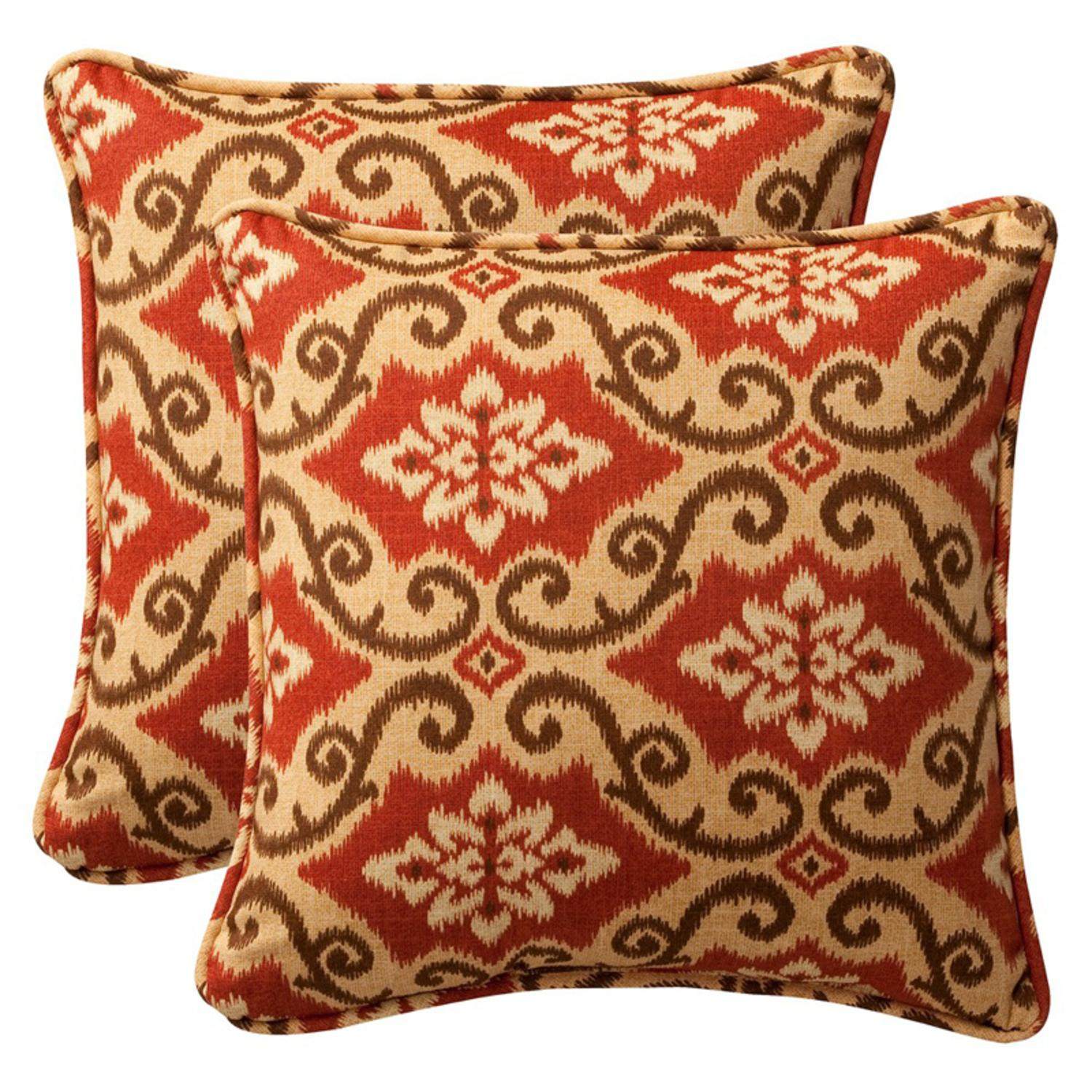 "Pack of 2 Outdoor Patio Furniture SquareThrow Pillows 18.5"" - Vintage Tuscan"