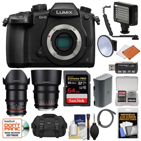 Panasonic Lumix DC-GH5 Wi-Fi 4K Digital Camera Body with 35mm + 85mm T/1.5 Lenses + 64GB Card + Case + Video Light + Battery
