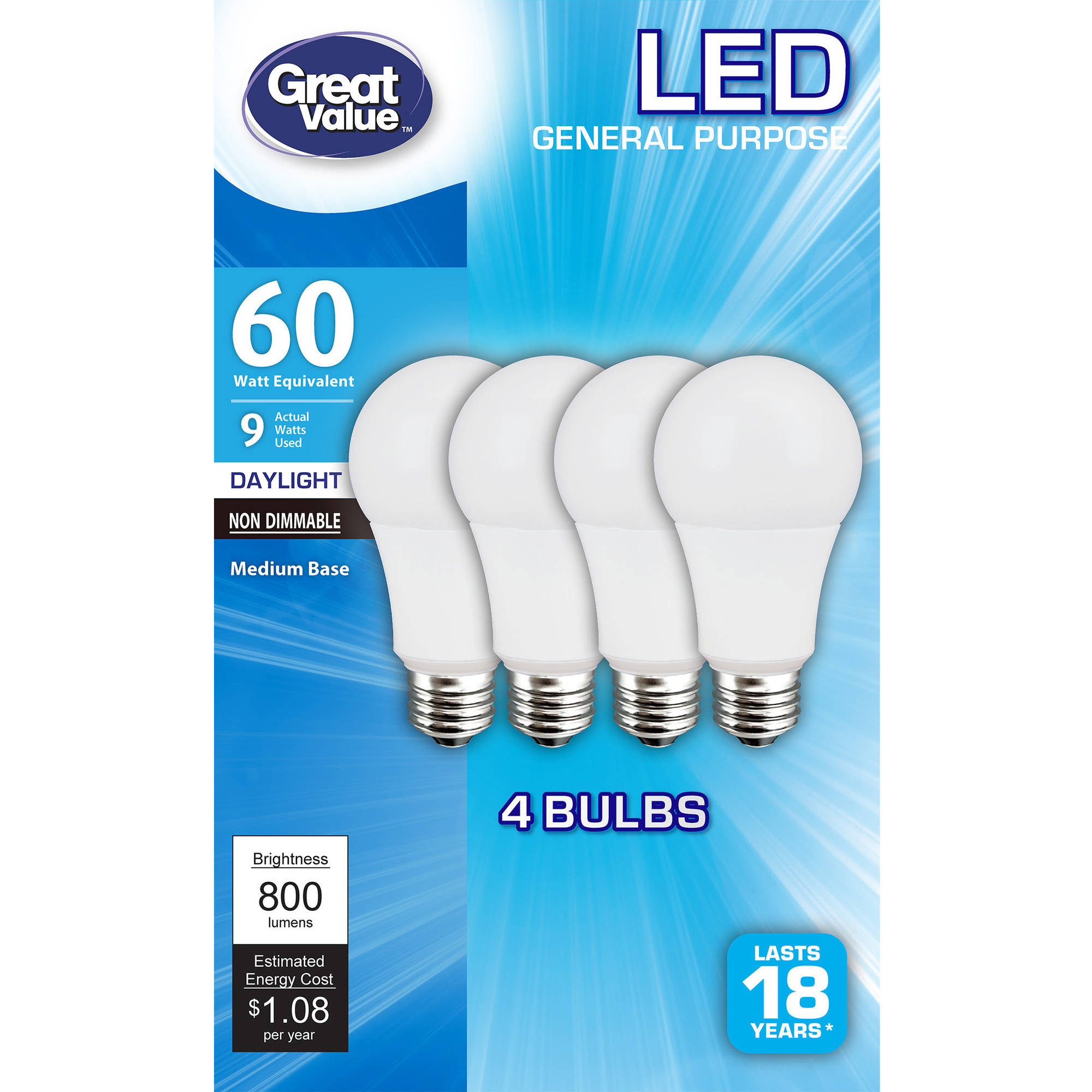 Great Value LED Light Bulbs 9W (60W Equivalent), Daylight, 4-Pack