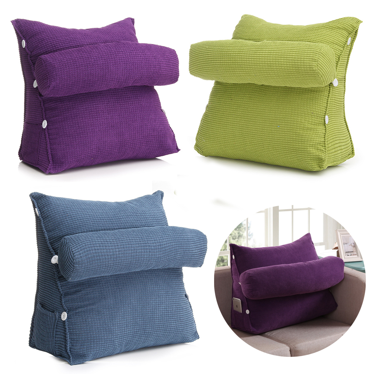 Adjustable Back Wedge Cushion Pillow Sofa Bed Office Chair Rest Waist Neck Support for Kids Children Gift