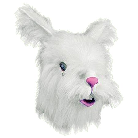 Adult Furry White Rabbit Mask Animal Halloween Costumes](Scary Rabbit Mask Halloween)