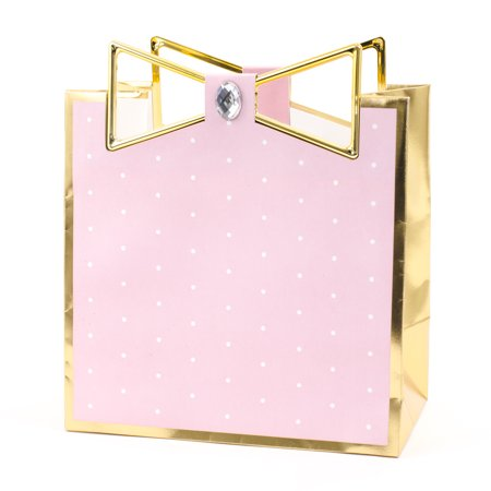 Hallmark Signature Medium Gift Bag for Birthdays, Bridal Showers, Baby Showers and More (Pink with Gold Border)