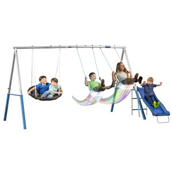 XDP Recreation Firefly Metal Swing Set with Slide & LED Swing Seats