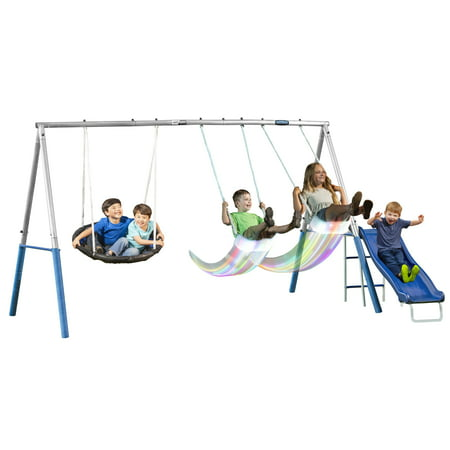 XDP Recreation FIREFLY Metal Swing Set with LED Swing Seats, Galvanized Steel Frame