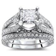 Noori Collection Noori 18k White Gold 2 3/5 ct Princess Diamond Bridal Set