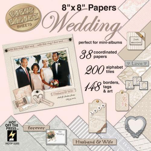 "Paper Pizazz Paper & Accent Kits 8""X8""-Wedding"