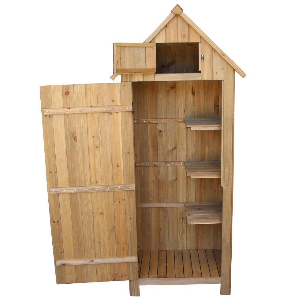 "Global House Products 30.31""x21.38""x70.47"" Fir Wood Arrow Garden Shed"