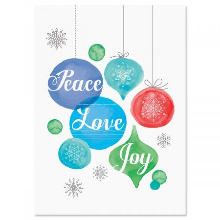 Peace, Love, and Joy Nonpersonalized Scripture Christmas Cards - Set of 18