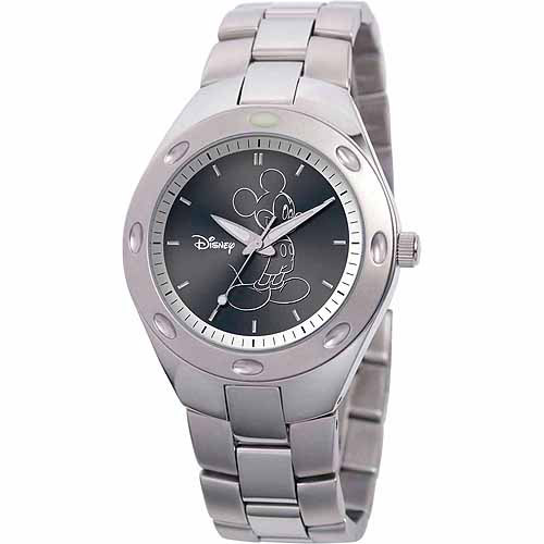 Disney Mickey Mouse Men's Stainless Steel Watch, Silver Bracelet