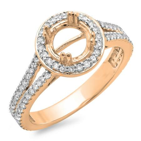 0.50 Carat (ctw) 18K Rose Gold Round Cut Diamond Ladies Semi Mount Bridal Engagement Ring 1/2 CT (No Center